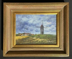 SIGNED FRENCH IMPRESSIONIST OIL PAINTING - WINDMILL IN RURAL FARM LANDSCAPE