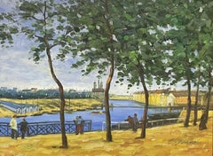 SIGNED FRENCH IMPRESSIONST OIL PAINTING - FIGURES OVERLOOKING CITY BY RIVER