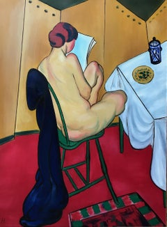 signed M.H; Nude reading; oil on canvas