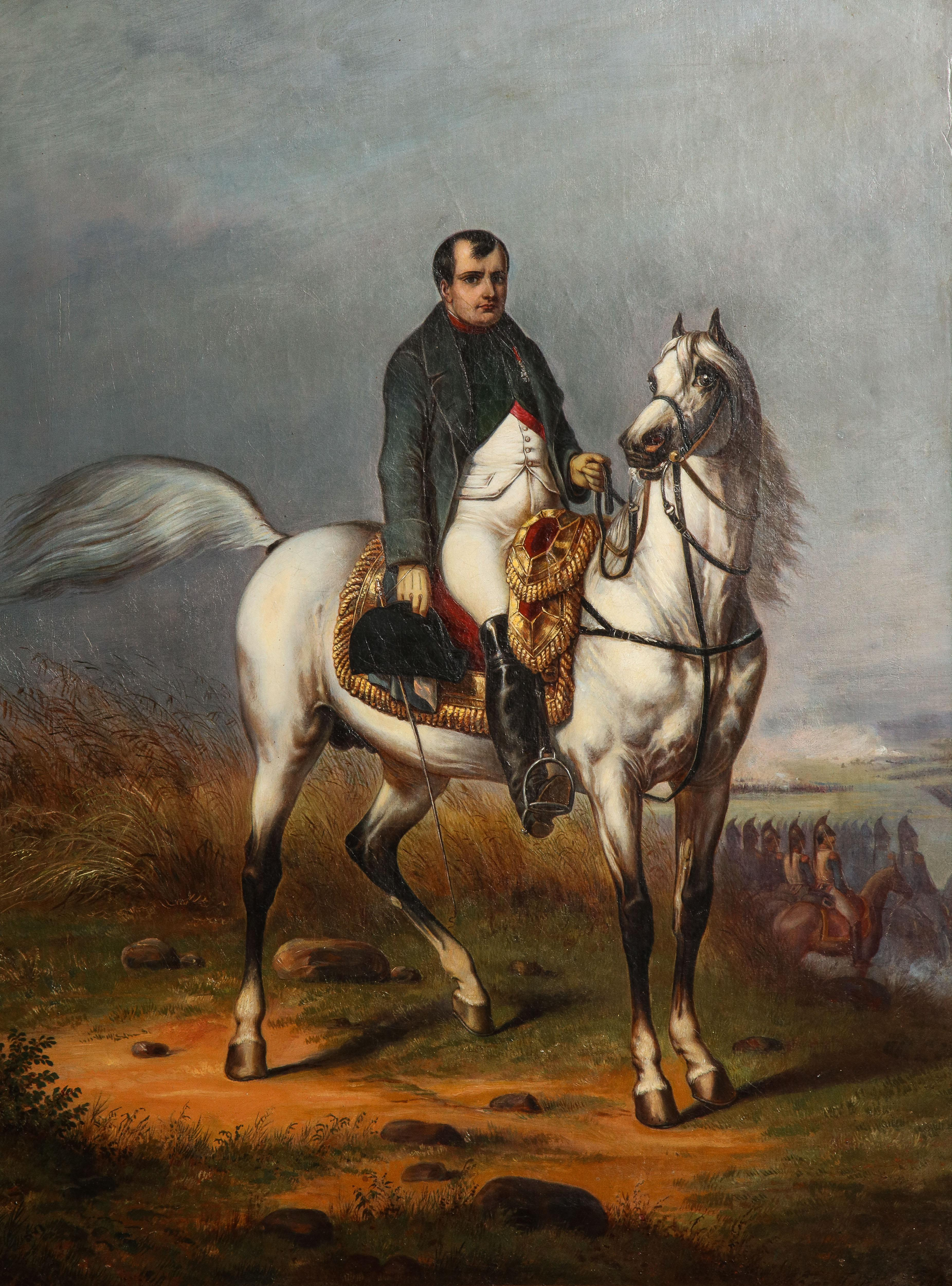 Unknown Signed Oil Painting Detailed 1845 Napoleon Bonaparte On His White Horse Morengo At 1stdibs