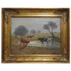 Signed Rhede Oil on Canvas of a Country Landscape