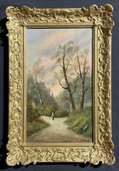 SIGNED VICTORIAN OIL PAINTING - FIGURE WALKING ALONG COUNTRY RURAL LANE - FRAMED