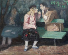 'The Lovers on the Park Bench' by Simon, French Oil Painting, Paris c. 1950s