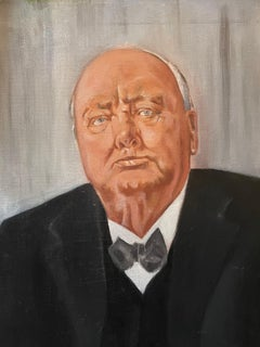 Sir Winston Churchill Large Portrait Oil Painting
