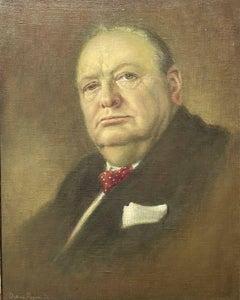 Sir Winston Churchill Portrait, signed original British oil painting