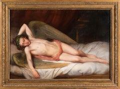 Sleeping Angel, English School 19th Century Reclining Figure Oil