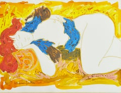 "Alain Bonnefoit ""Sleeping Girl"", original watercolor and gouache on paper"