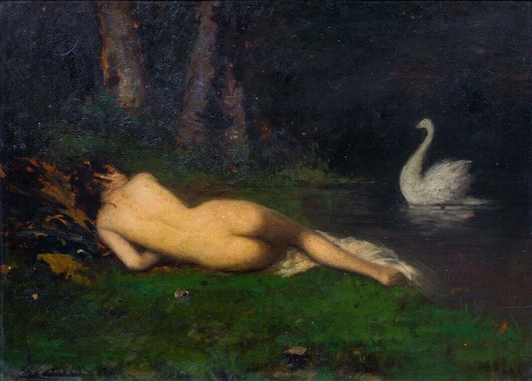 Sleeping Nude & Swan, 19th Century  - Painting by Unknown