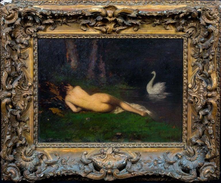 Unknown Portrait Painting - Sleeping Nude & Swan, 19th Century