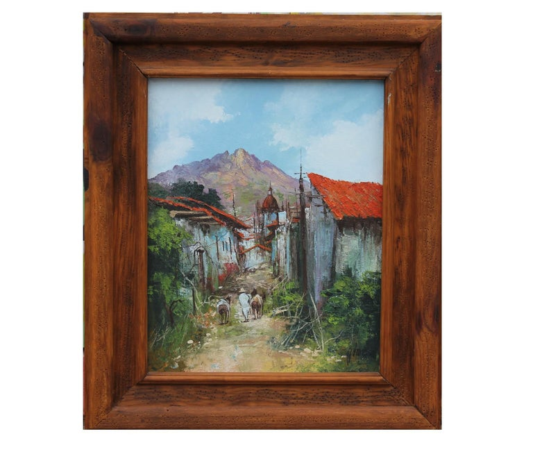 Unknown Landscape Painting - South American Landscape View of a Town