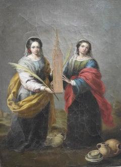 Spanish School 19th century, Santa Justa and Santa Rufina, oil on canvas