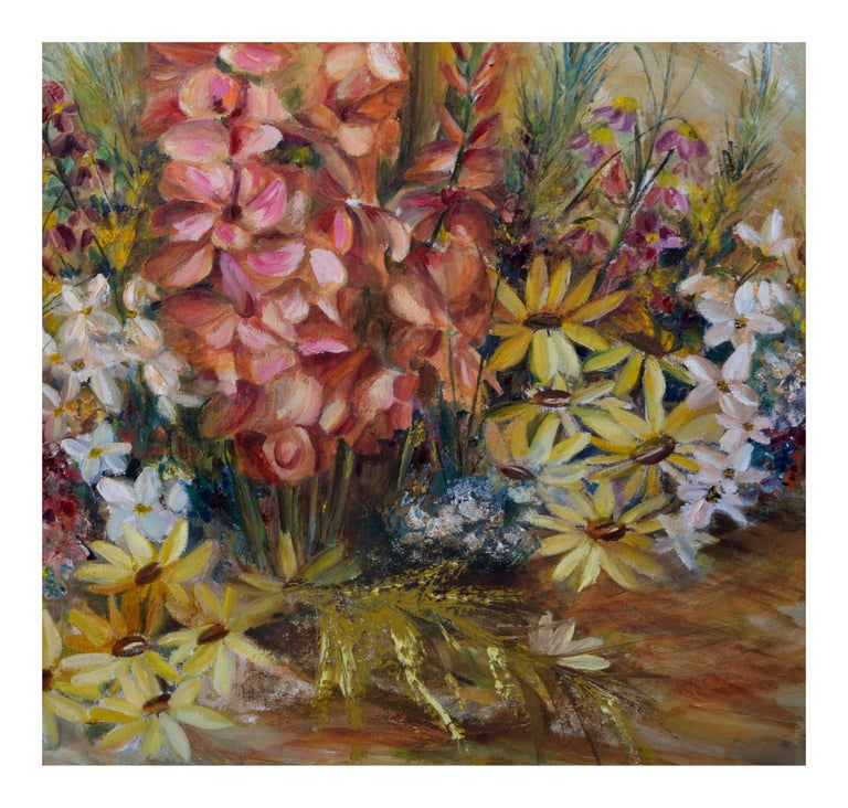 Spring Garden Flowers Still-Life  - Brown Still-Life Painting by Unknown
