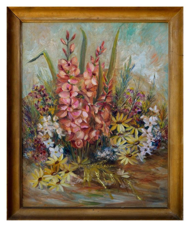 Unknown Still-Life Painting - Spring Garden Flowers Still-Life
