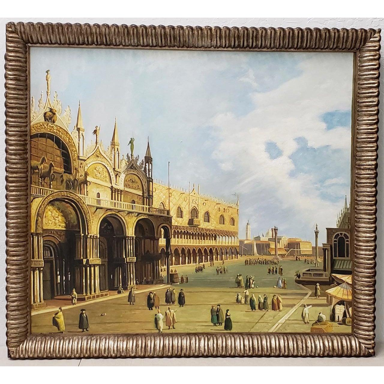 """""""St. Marks Square"""" Vintage Venetian Scene Oil Painting c.1970"""