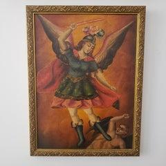 St. Michael the Archangel, School of Cusco, Peru, Framed early 1900's