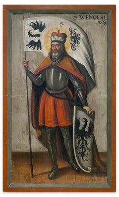 St. Wenceslaus - Original Oil on Panel 18th Century