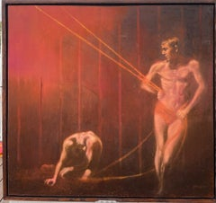 Standing Male Boy Nudes Acrobats Pulling Ropes and walking on Tightropes