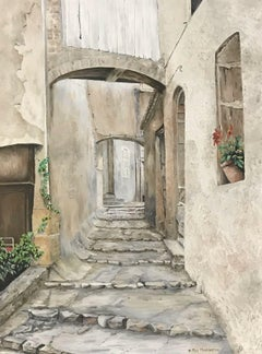 STEPS IN PROVENCAL OLD TOWN VILLAGE STREET - SIGNED ENGLISH OIL PAINTING