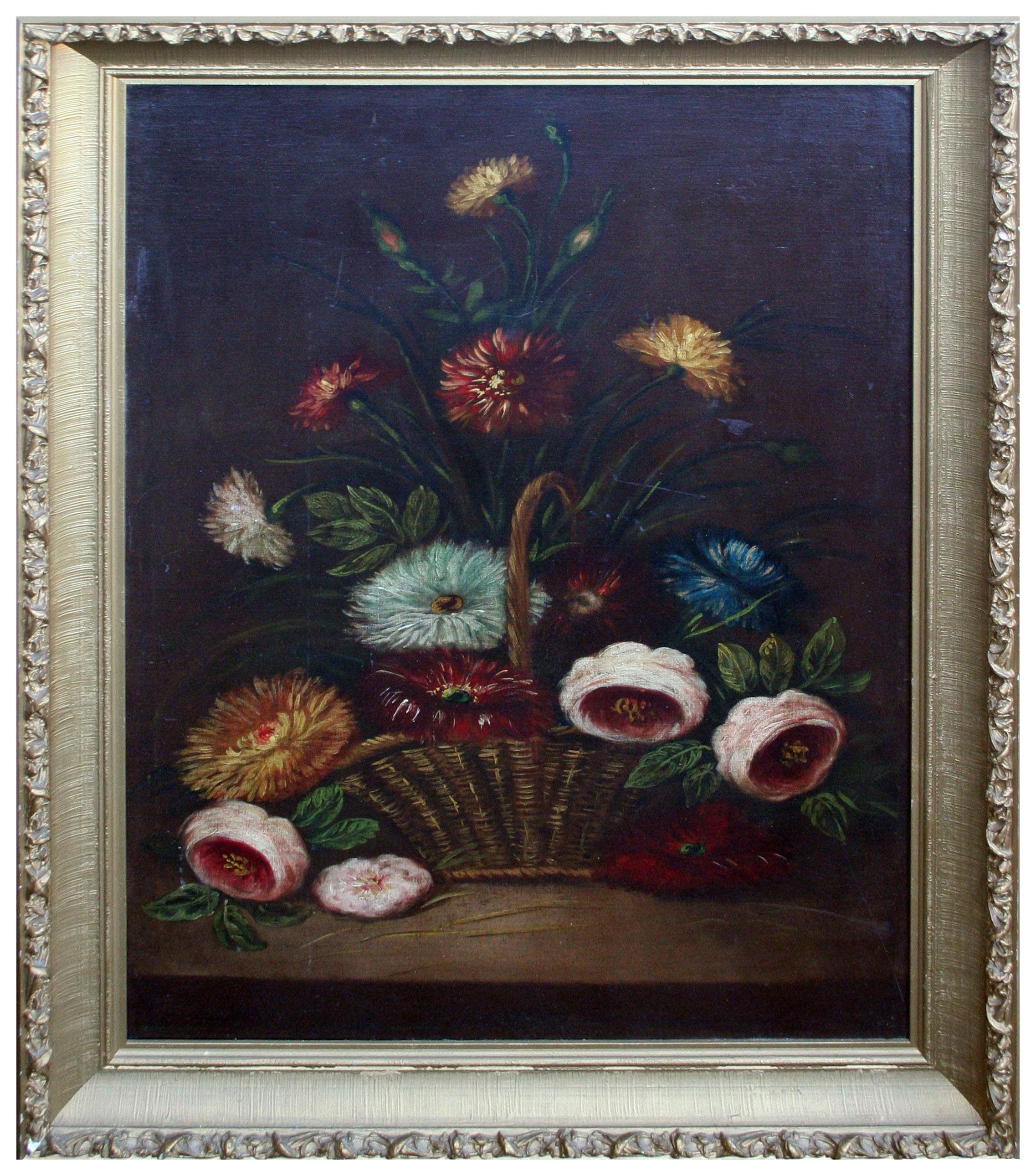 Still Life Basket of Chrysanthemums