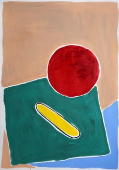 Still Life in Primary Colors, Naïf Architectural Landscape Pool in Red and Green
