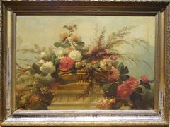 Still Life of Flowers, 19th Century  Huge Circa 1880 French School Study