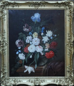 Still Life of Flowers in Vase on Ledge - Dutch 19thC art floral oil painting