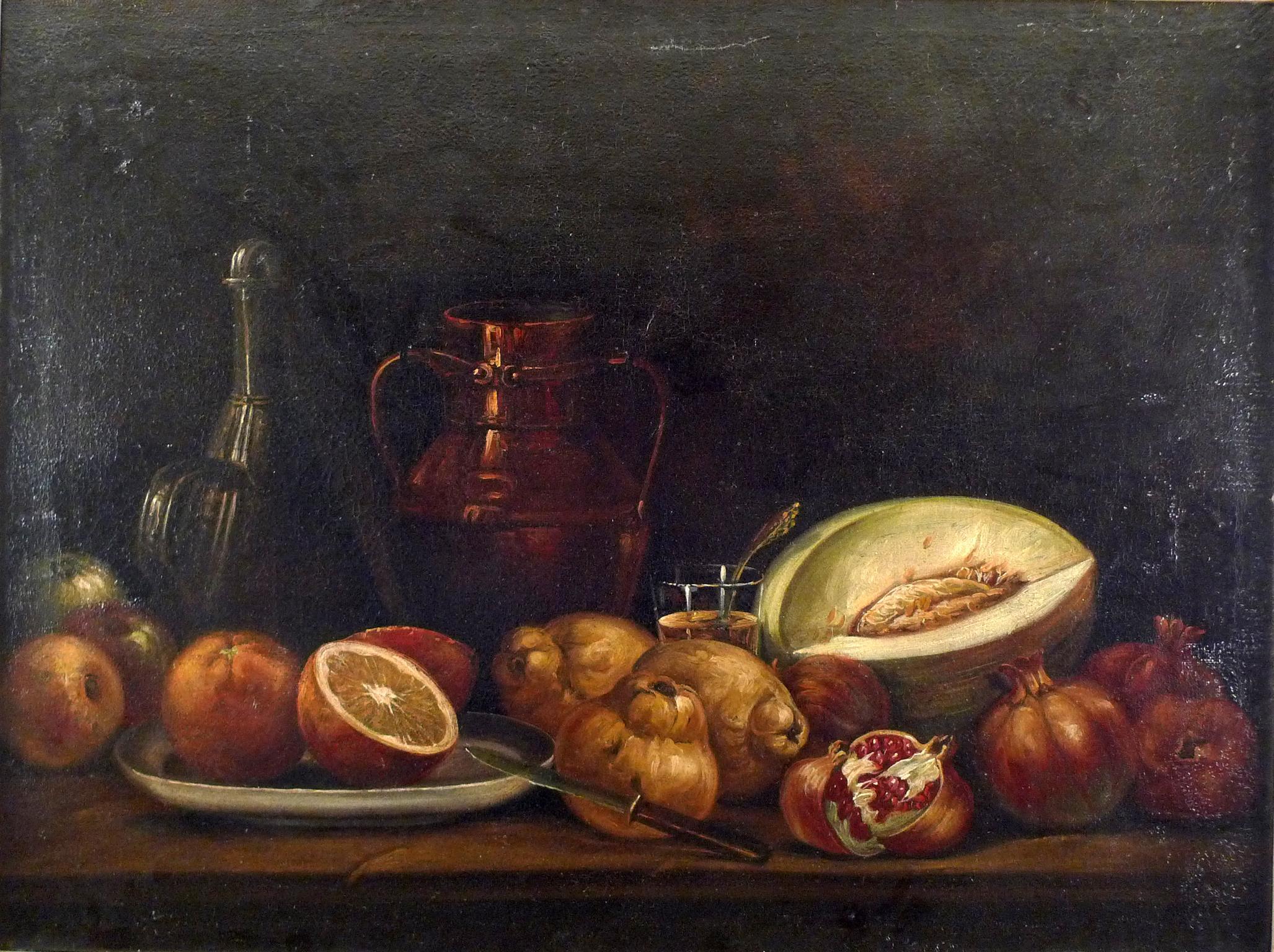 """Still Life of Fruit"", 18th Century  Oil on Canvas, Spanish, Period Gilt Frame"