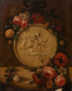 Still Life of Roses & Marble Cherubs On A Mantle 18th Century