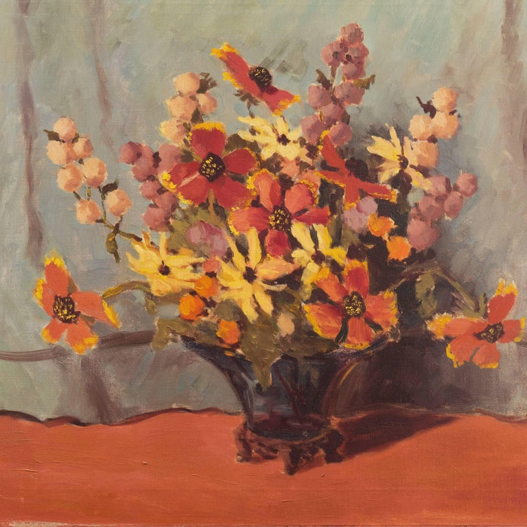 'Still Life, Rust and Jade', American School Spring Flowers  Post-Impressionist  - Brown Still-Life Painting by Unknown
