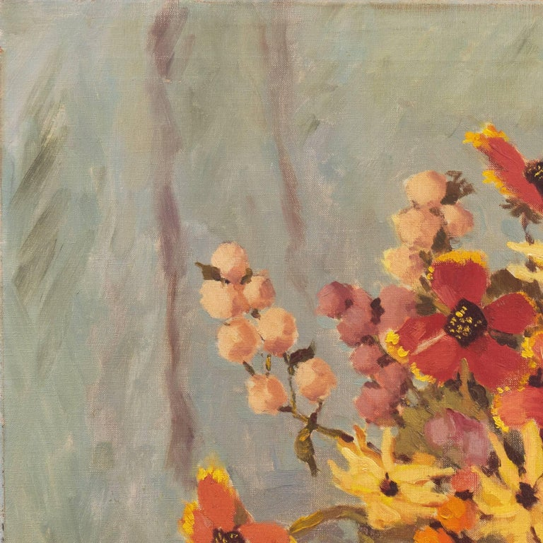 'Still Life, Rust and Jade', American School Spring Flowers  Post-Impressionist  For Sale 1
