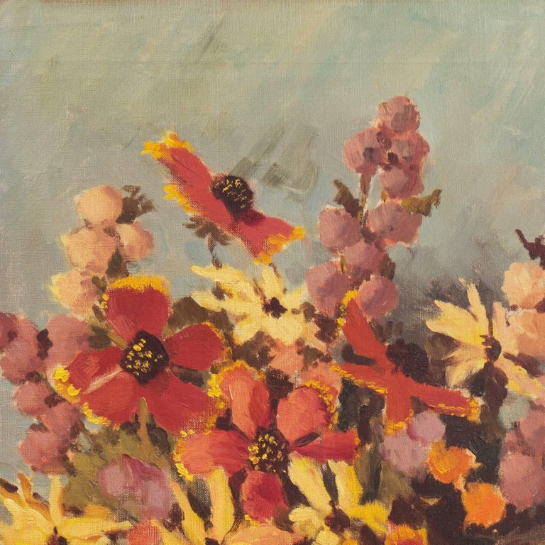'Still Life, Rust and Jade', American School Spring Flowers  Post-Impressionist  For Sale 2