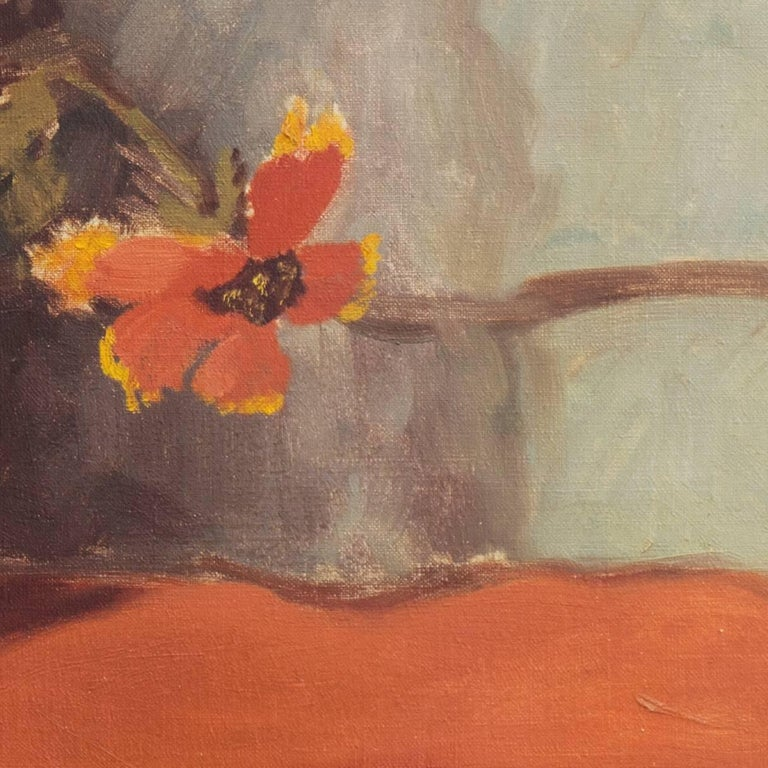 'Still Life, Rust and Jade', American School Spring Flowers  Post-Impressionist  For Sale 3