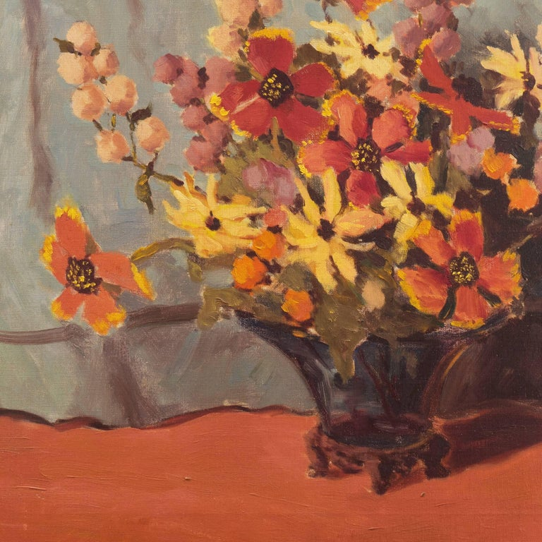 'Still Life, Rust and Jade', American School Spring Flowers  Post-Impressionist  For Sale 4