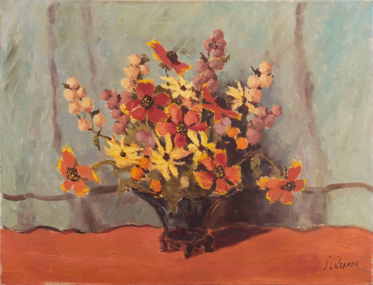 Unknown Still-Life Painting - 'Still Life, Rust and Jade', American School Spring Flowers  Post-Impressionist