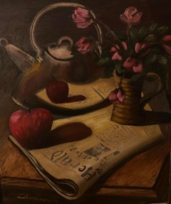 """""""Still life with a newspaper"""" Oil on canvas"""