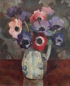 'Still Life with Anemones in Pitcher', French School