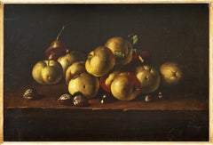 Still Life with Apples and Nuts - 17th Century Old Master Oil on Canvas Painting