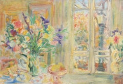 'Still Life with Bouquet and French Door', French School