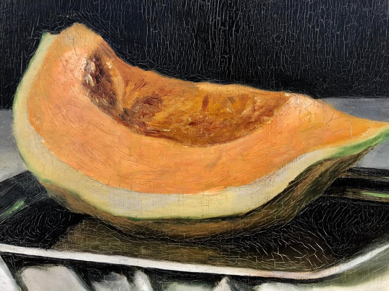 """Still life with Cantaloupe"" - Realist Painting by Unknown"