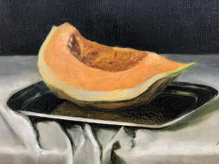"""Still life with Cantaloupe"" - Beige Still-Life Painting by Unknown"