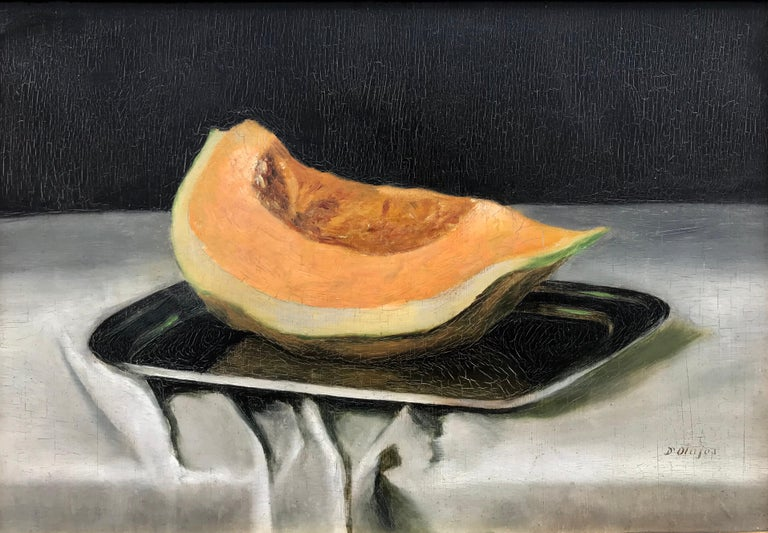 Beautiful still life painting of a slice of cantaloupe melon by an unknown artist. Signed lower right,  d'0lajos.  Circa 1980. Oil on board. Condition good. Overall in art nouveau style contemporary gold leaf custom frame 17.5 by 23.5 inches. Frame