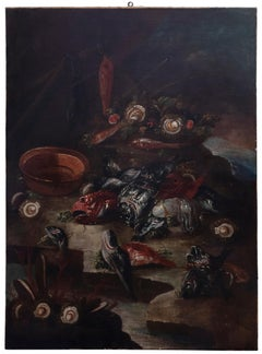 Still Life with Fishes and Oysters - Original Oil on Canvas - 17th Century