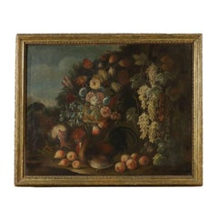 Still Life with Flowers Fruit and Roosters Giovanni Agostino Cassana 1600