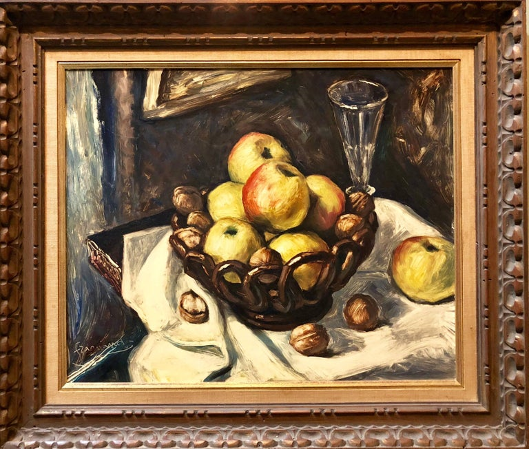 Still Life with Fruit and Nuts Modernist French Oil Painting - Black Figurative Painting by Unknown