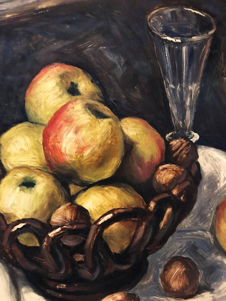 Still Life with Fruit and Nuts Modernist French Oil Painting For Sale 2