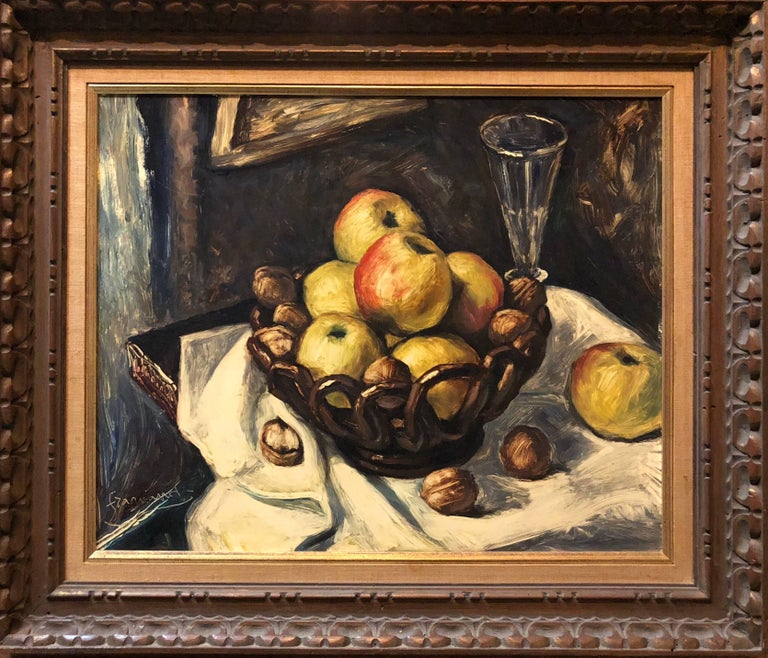 Unknown Figurative Painting - Still Life with Fruit and Nuts Modernist French Oil Painting