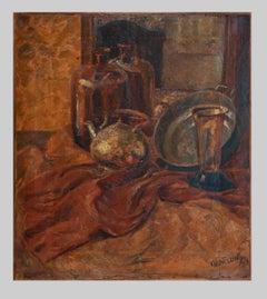 Still Life with Teapot - Original Oil Painting by Eric Wesselow - 20th Century