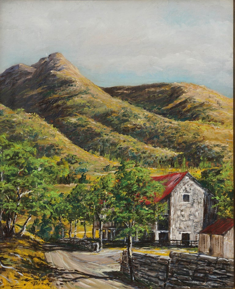 Stone Barn in Foothills Landscape - Painting by Unknown