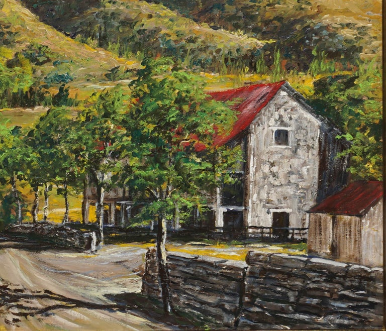 Stone Barn in Foothills Landscape - American Impressionist Painting by Unknown
