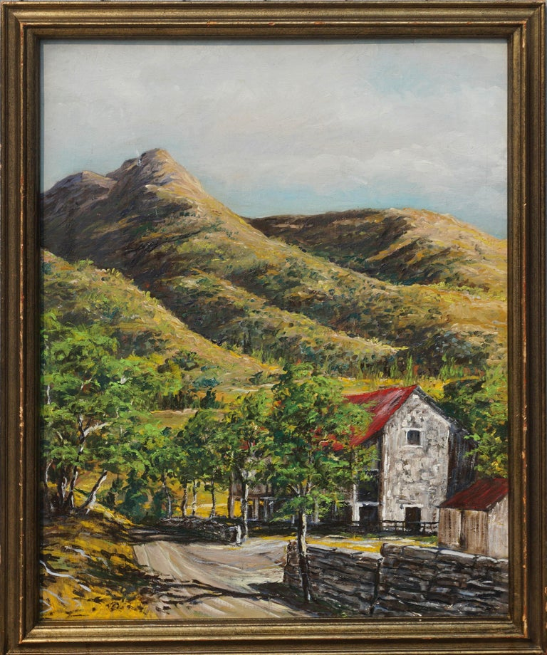Unknown Landscape Painting - Stone Barn in Foothills Landscape